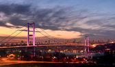 Night golden gate bridge and the lights istanbul, Turkey — Stock Photo