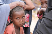 Sad african children. Hunger Refugee Camp — Stock Photo