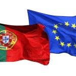 banderas de España y la UE, aislado sobre fondo blanco — Foto de Stock