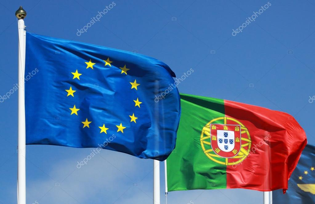 Flags of Portugal and EU in the sun — Stok fotoğraf #19114577