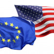 Flags of the United States of America and EU — Stock Photo #19916495