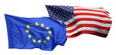 Flags of the United States of America and EU — Stock Photo