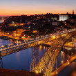 Oporto - river Douro an Dom Luis bridge after sunset — Stock Photo