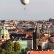 图库照片: Prague panoramwith air balloon, Czech Republic