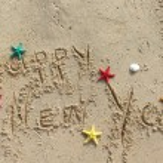 Happy New Year beach postcard — Stock Photo