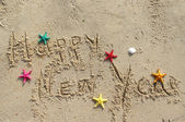 Happy New Year beach postcard — Stock Photo