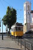Lisbon yellow tram, — Stock Photo