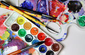 Art palette and watercolors — Stock Photo