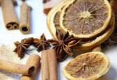 Mix of cinnamon sticks and dry orange — Stock Photo