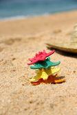 смешные сердцевидных на пляже — Стоковое фото