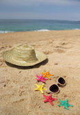 зеленый пляжная сумка на пляже — Стоковое фото