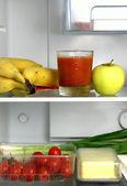 Lednice s produkty pro zdravý život — Stock fotografie