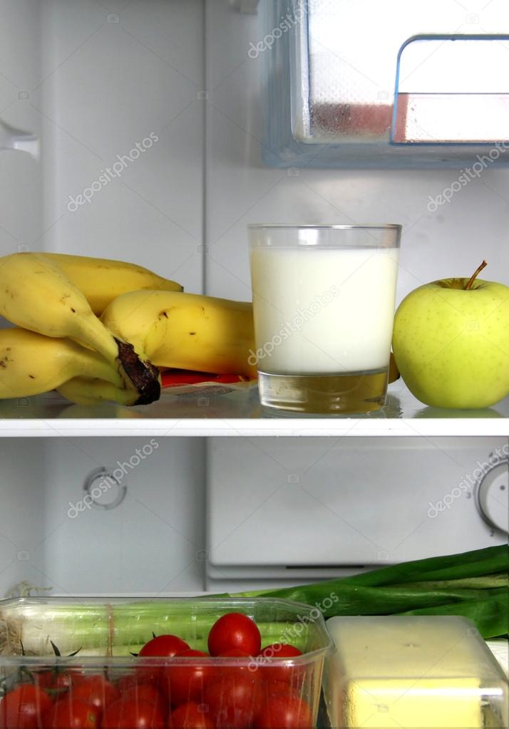 Open refrigerator with products for healthy diet   Stock Photo #17383805