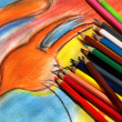 Mix of multicolored vivid pencils — Stock Photo