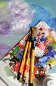 Art palette and mixing painting — Stock Photo