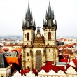 Beautiful Prague view and Tyn church — Stock Photo #19467145