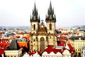 Beautiful Prague view and Tyn church — Stock Photo