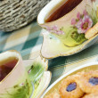 Beautiful old antique tea service in secession style with biscui — Stock Photo