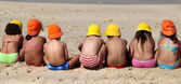 Funny children on the beach — Stock Photo
