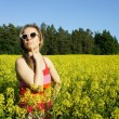 Young beautiful funny womand yellow fields — Foto Stock #22041625