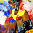 Vivid strokes and paintbrushes - Stock Photo