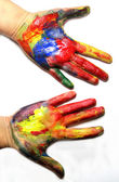 Vivid colored hands — Stock Photo