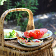 Picnic basket on the green garden background — Stock Photo