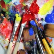Stock Photo: Art palette, paints and paintbrushes