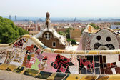 Park Guell in Barcelona, Spain with Gaudi houses — Stock Photo