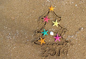 Christmas and New Year 2014 on the beach — Stock Photo