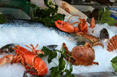 Big mix of seafood products — Stock Photo