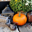 Stock Photo: Halloween decorations with pumpkin
