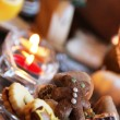 Stock Photo: Beautiful Christmas cookies and candles on table