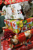 Christmas gifts in the vivid boxes — Stock Photo