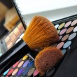 Professional make-up palette and brushes — 图库照片