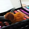 Professional make-up palette and brushes — Stock Photo