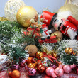 Beautiful Christmas with toys, gingerbread and nutcracker — Stok fotoğraf