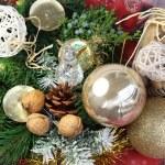 Beautiful Christmas wreath and crystal angel — Stock Photo
