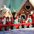 Christmas for children with toy red train — Stock Photo #34938153