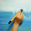 Painter paints his beautiful picture — Stock Photo #35492593