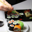 Mix of Japanese sushi and rolls — Foto Stock