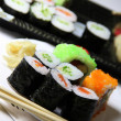 Mix of Japanese sushi and rolls — Stockfoto #36212693