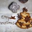 Merry Christmas and cookie fir-tree — Stock Photo