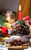 Mix of Christmas cookies with cinnamon — Stock Photo