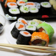 Mix of Japanese sushi and rolls — 图库照片