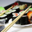 Mix of Japanese sushi and rolls — ストック写真
