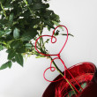 Stock Photo: Valentine hearts and beautiful roses in the pot