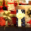 Stock Photo: Mix of beautiful well decorated present boxes
