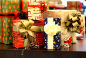 Mix of beautiful well decorated present boxes — Stock Photo