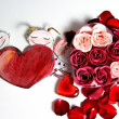 Painted Valentine heart and beautiful rose — 图库照片
